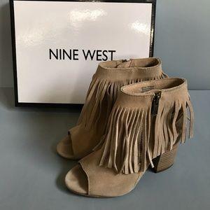 Nine West Suede Fringe Chunky Heels